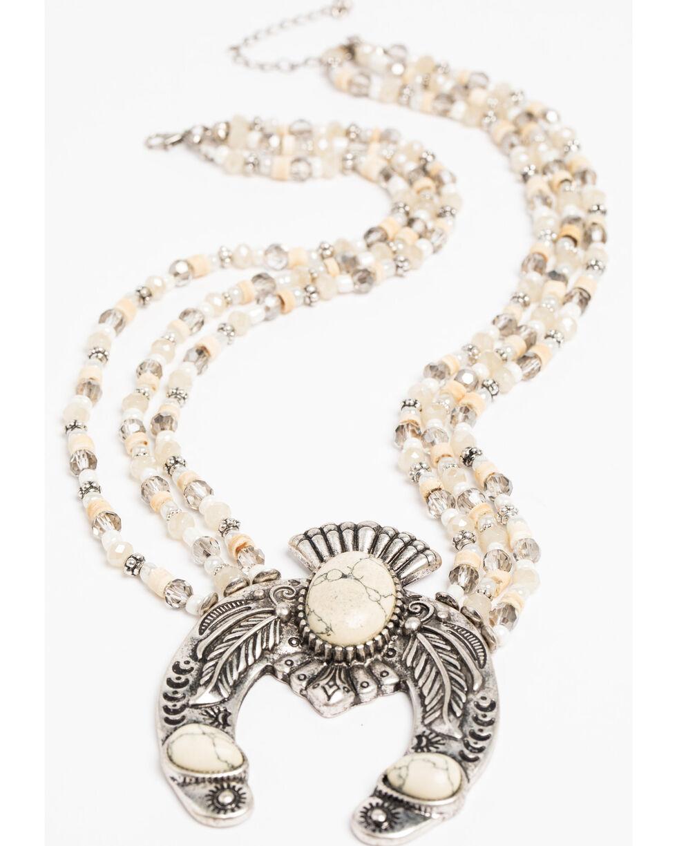 Shyanne Women's Crescent Beaded Necklace, Sand, hi-res