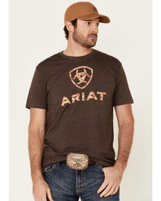 Ariat Men's Liberty USA Digi Camo Logo Short Sleeve T-Shirt , Brown, hi-res