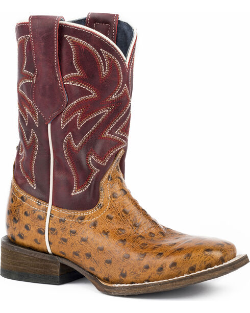 Roper Boys' Ozzie Embossed Ostrich Cowboy Boots - Square Toe, Tan, hi-res