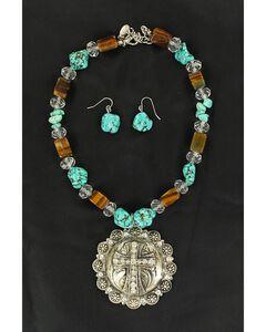 Blazin Roxx Fancy Concho & Faux Turquoise Beaded Necklace & Earrings Set, Multi, hi-res