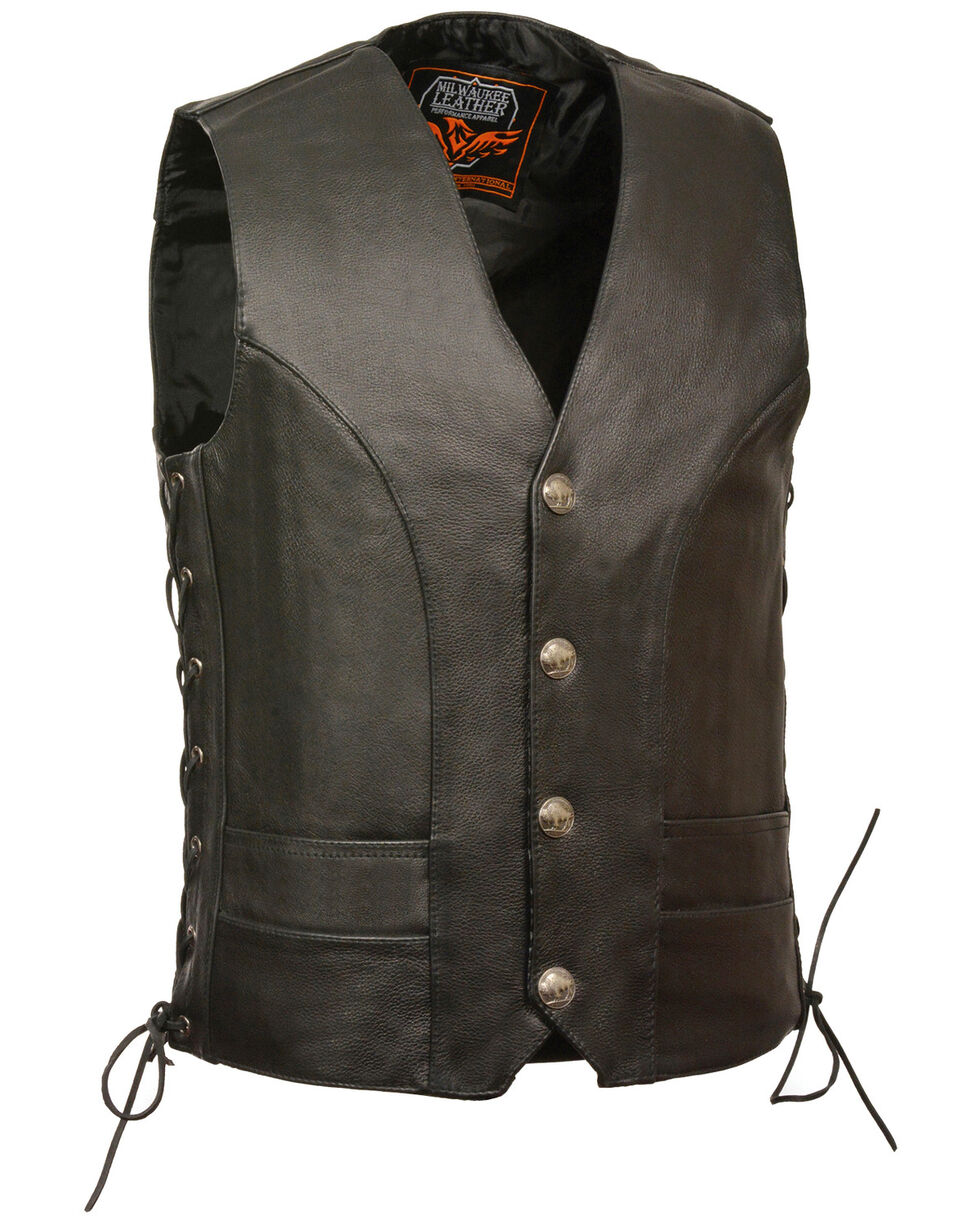 Milwaukee Leather Men's Buffalo Snap Side Lace Vest - XBig, Black, hi-res