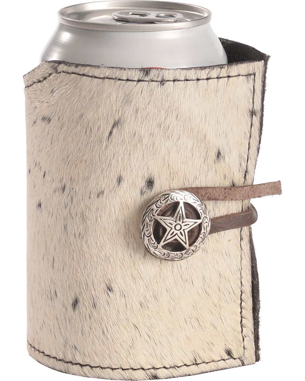 BB Ranch Wraparound Concho Cowhide Coozie, No Color, hi-res