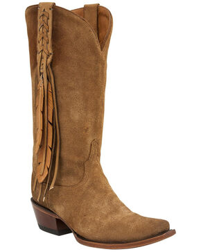 Lucchese Tori Hand Tooled Feather Cowgirl Boots - Snip Toe, Lt Tan, hi-res
