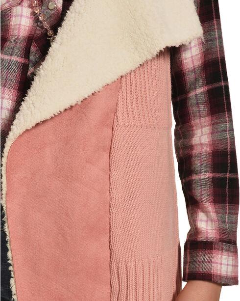 Derek Heart Girls' Pink Sherpa Collar Sweater Vest , Pink, hi-res