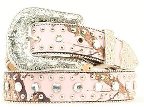 Blazin Roxx Pink Mossy Oak Beaded Edge Embellished Belt, Pink, hi-res