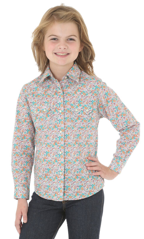 Wrangler Girls' Multi Snap Pocket Floral Print Shirt , Multi, hi-res