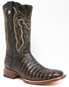 Tanner Mark Men's Caiman Tail Print Western Boots - Square Toe, Brown, hi-res