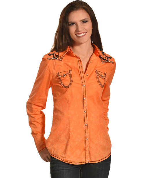 Roar Women's Orange Polished II Long Sleeve Western Shirt , Orange, hi-res