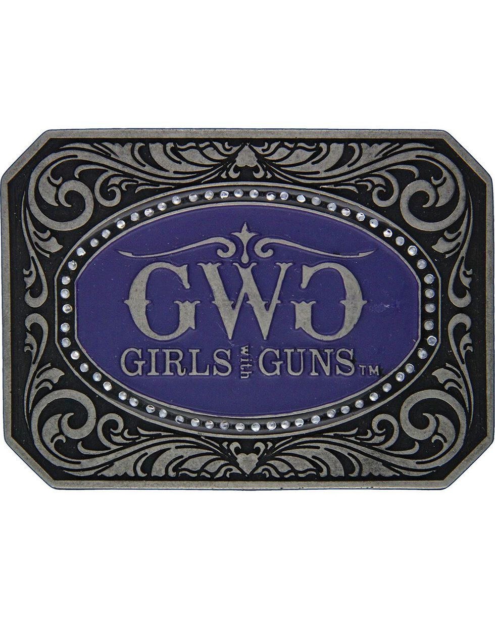 Girls With Guns Classic Cameo Attitude Belt Buckle, Silver, hi-res