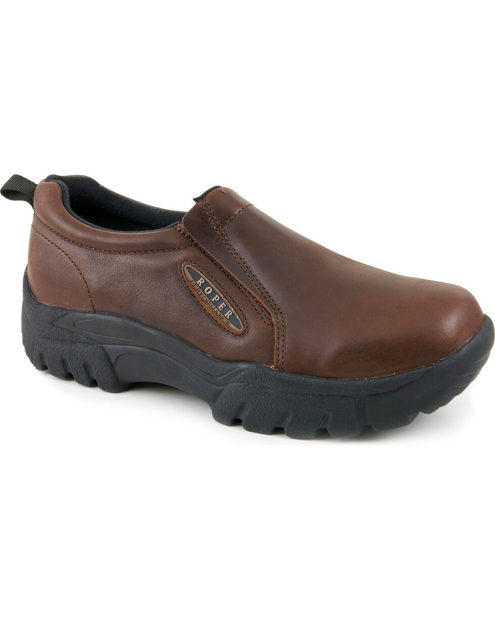 Roper Performance Smooth Leather Slip-On Shoes - Round Toe, Brown, hi-res