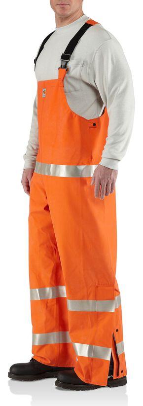 Carhartt Flame Resistant Rainwear Bib Overalls - Big & Tall, Orange, hi-res