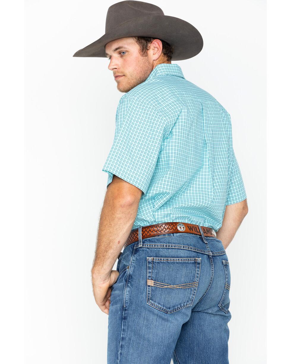 Cinch Men's Turquoise Plain Weave Plaid Short Sleeve Shirt , , hi-res