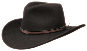 Black Creek Men's Black Crushable Wool Hat, Black, hi-res