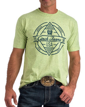 Cinch Men's Lime Green Diamond Logo Tee , Light Green, hi-res