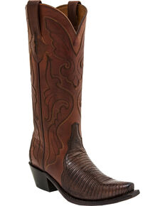 Lucchese Handmade Carmen Lizard Triad Cowgirl Boots - Snip Toe , Walnut, hi-res