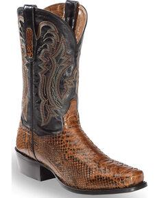 f7e2eaf81947c Dan Post Mens Cognac Back Cut Python Cowboy Boots - Square Toe