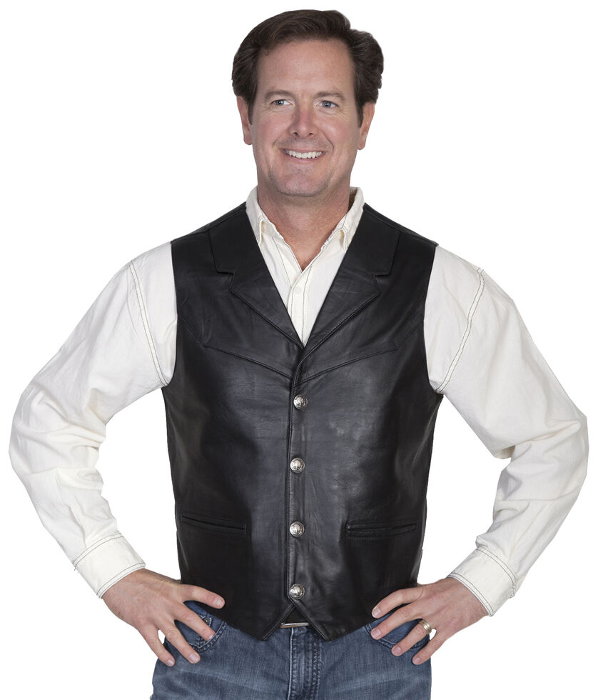 Scully Lambskin Lapel Vest, Black, hi-res