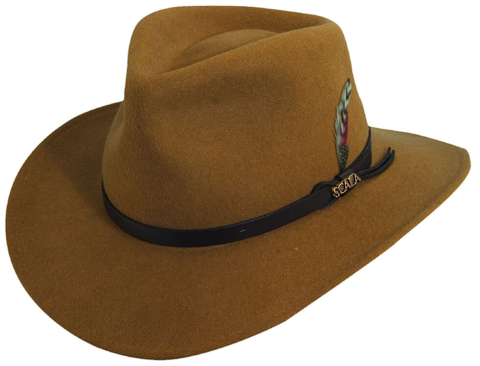 40e38553 Zoomed Image Scala Men's Pecan Brown Crushable Wool Felt Outback Hat,  Pecan, hi-res