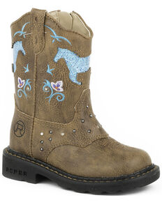 Roper Toddler Girls' Glitter Horse Light-Up Cowgirl Boots, Tan, hi-res