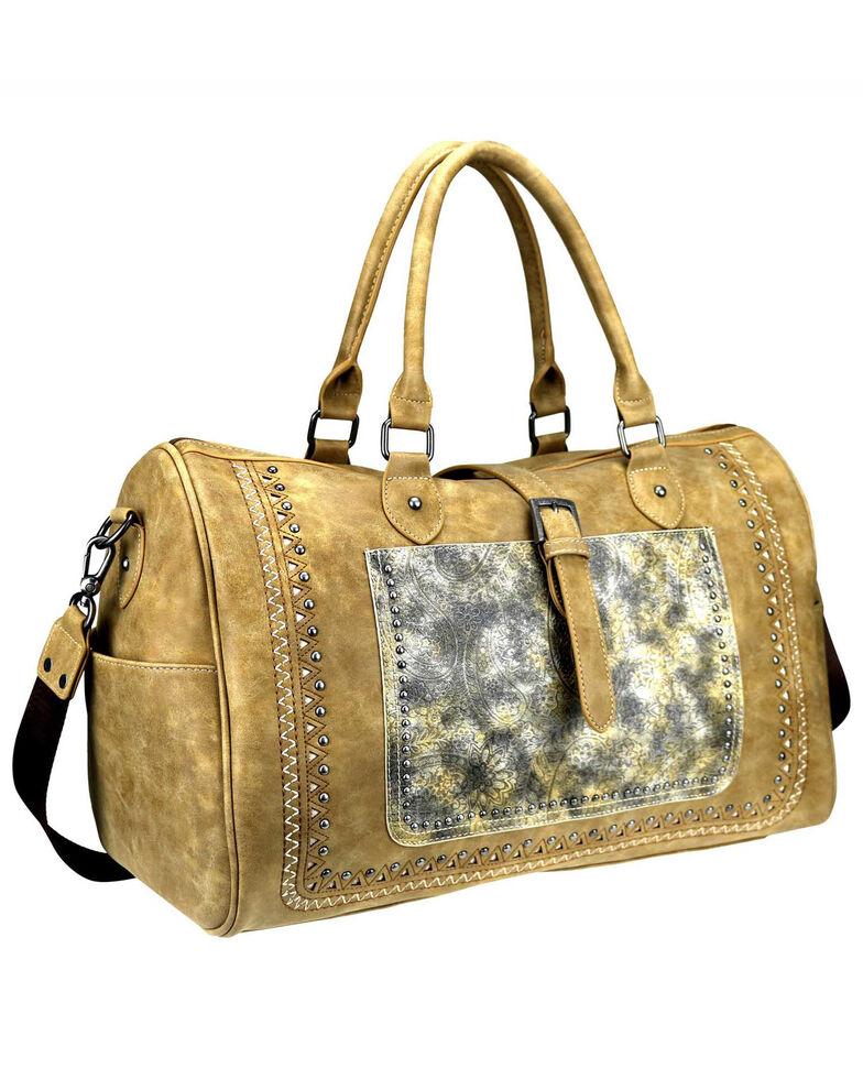 Montana West Women's Bella Buckle Duffle Bag, Tan, hi-res