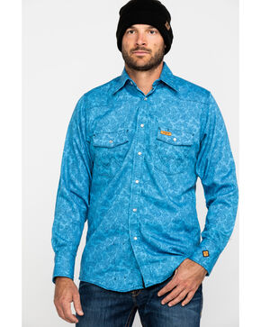 Wrangler Men's Blue FR Paisley Lightweight Work Shirt - Tall , Blue, hi-res