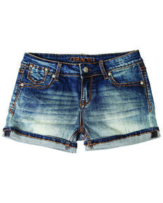 Grace In LA Girls' Medium Wash Denim Shorts, Blue, hi-res