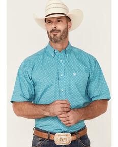 Ariat Men's Franz Geo Print Short Sleeve Button-Down Western Shirt , White, hi-res