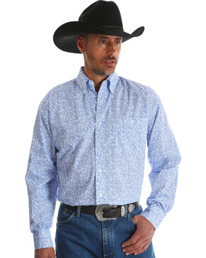Wrangler Men's George Strait Blue Printed Button Down Western Shirt - Big & Tall , Blue, hi-res