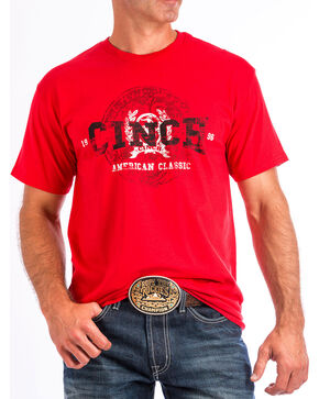 Cinch Men's Red Graphic Short Sleeve T-Shirt, Red, hi-res