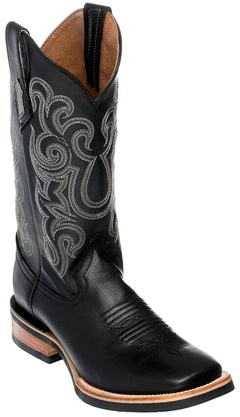 Ferrini Men's French Calf Leather Cowboy Boots - Square Toe, Black, hi-res