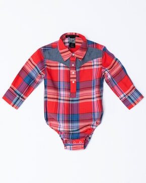 Shyanne Infant Girls Plaid Core Long Sleeve Onesie, Red, hi-res
