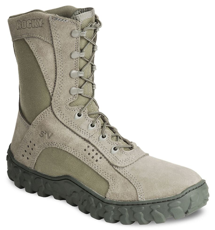 """Rocky S2V Vented 8"""" Lace-Up Military Boots - Round Toe, Sage, hi-res"""