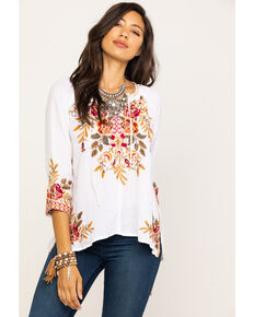 f5dff309261b8f Johnny Was Womens Charlotte Peasant Blouse, White, hi-res