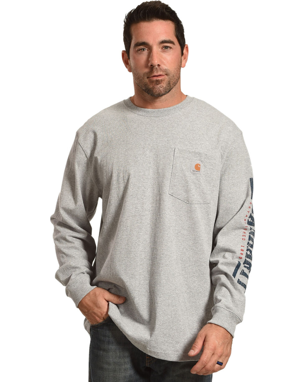 Carhartt Men's Logo Crew Long Sleeve Shirt, Heather Grey, hi-res
