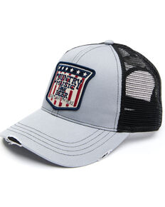 Moonshine Spirit Men's Country Music & Beer Flag Patch Mesh-Back Ball Cap , Grey, hi-res