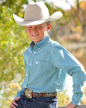 Cinch Boys' Blue Plaid Classic Western Shirt , Blue, hi-res