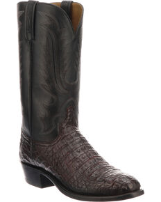 Lucchese Men's Handmade Walter Black Cherry Caiman Western Boots - Round Toe, Black Cherry, hi-res