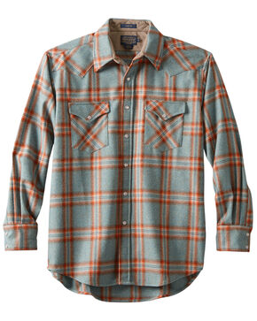 Pendleton Men's Canyon Copper Plaid Long Sleeve Western Flannel Shirt , Aqua, hi-res