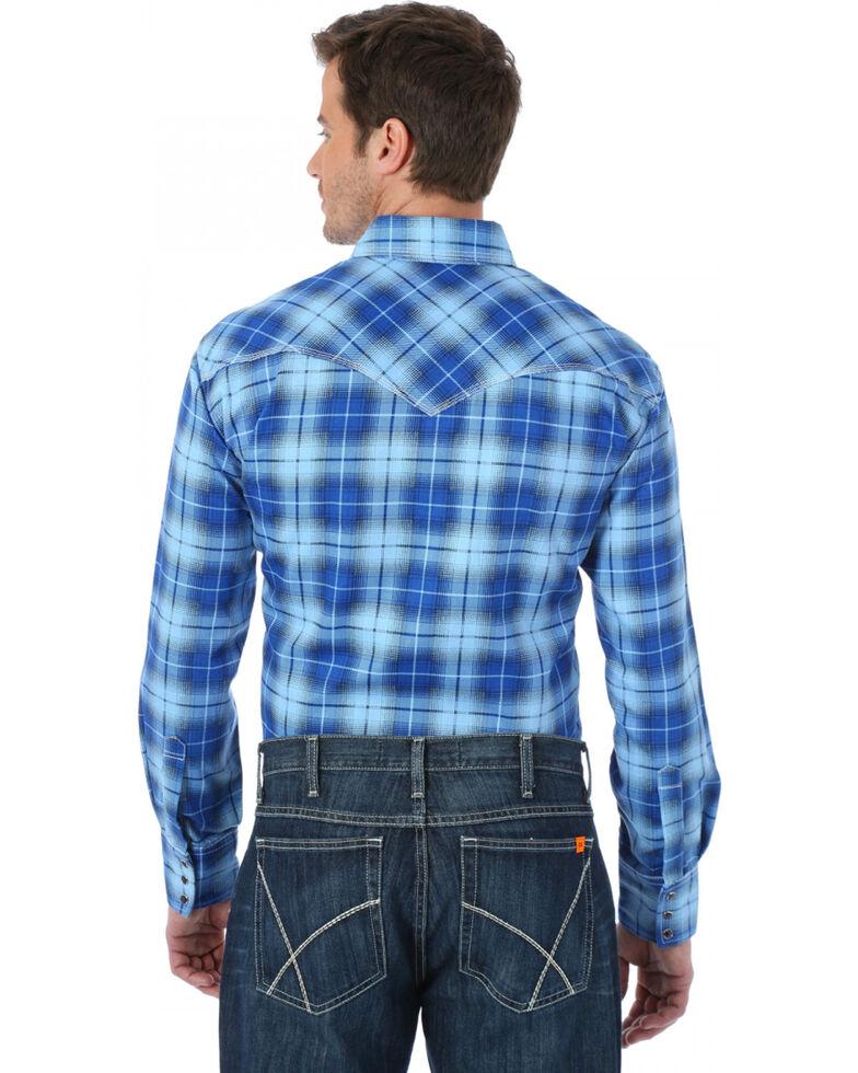 Wrangler Western Blue Plaid Flame Resistant Work Shirt, Blue, hi-res