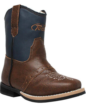 "Ad Tec Toddler Boys' 6"" Side Zip Western Boots - Square Toe, Navy, hi-res"