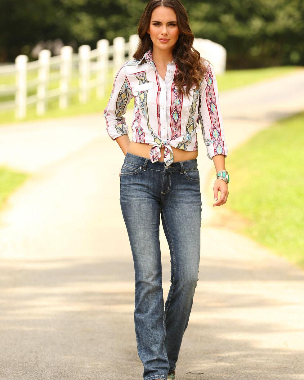 Wrangler Women's Aztec Stripe Long Sleeve Shirt, Cream, hi-res