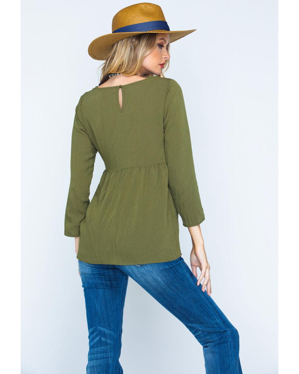 Polagram Women's Olive Embroidered Quarter Sleeve Top , Olive, hi-res