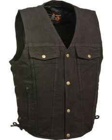 Milwaukee Leather Men's Side Lace Denim Vest w/ Chest Pockets, Black, hi-res