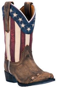 Dan Post Boys' Lil' Liberty Cowboy Boots - Snip Toe, Tan, hi-res