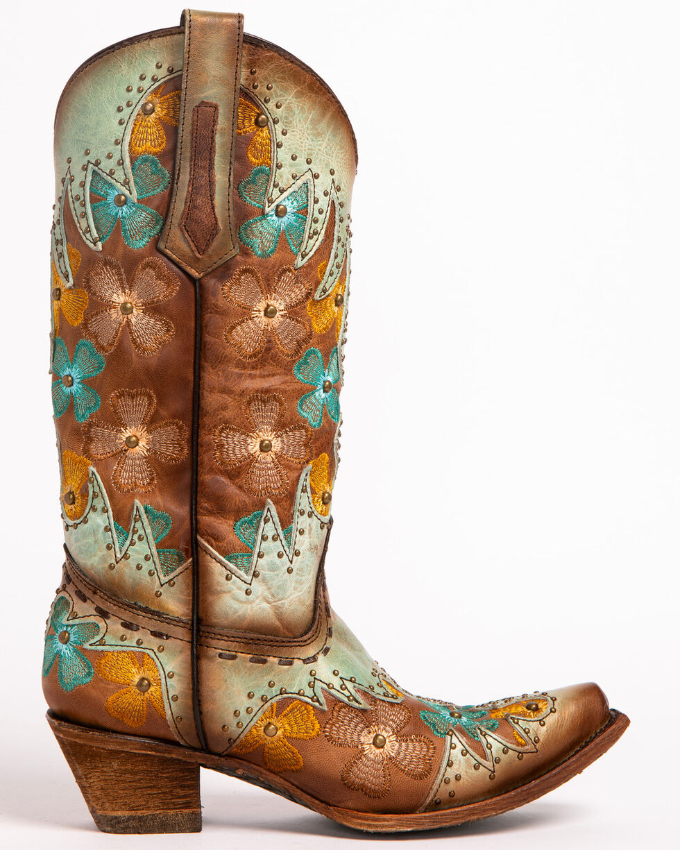 Corral Women's Mint/Maple Inlay Studded Floral Embroidered Cowgirl Boots - Snip Toe, Turquoise, hi-res