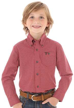 Wrangler Boys' Red Dot Print Long Sleeve Shirt, Red, hi-res