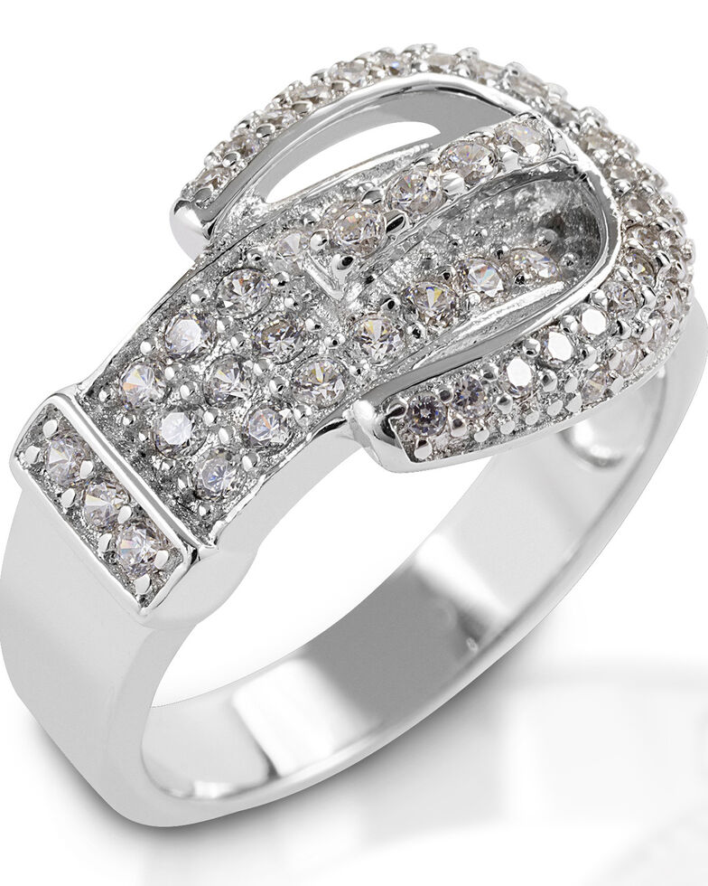 Kelly Herd Women's Clear Pave Buckle Ring, Silver, hi-res