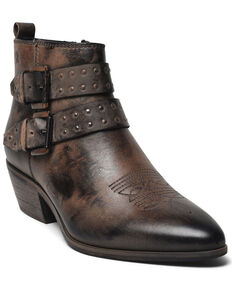 Roan by Bed Stu Women's Black Ville Buckle Western Booties - Pointed Toe, Black, hi-res