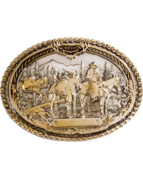 Montana Silversmiths Horse Pack & Rider Belt Buckle, Silver, hi-res