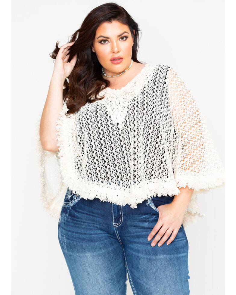 Flying Tomato Womens Knit Crochet Fringe Top Plus Sheplers